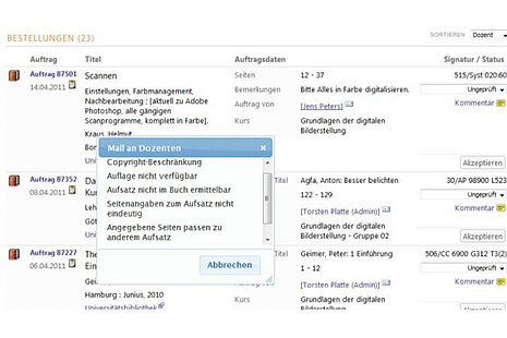 Digitaler Semesterapparat: Mail Kommunikation