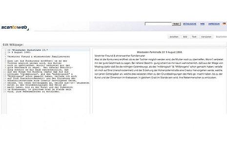 Eingabefeld für die Transkription und Vorschau auf den formatierten Volltext