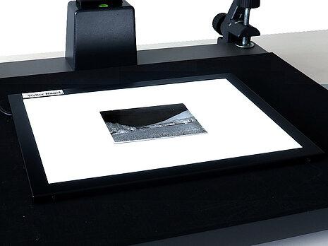 Glasplattennegative mit Durchlichttisch