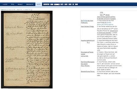 Tagebuchseite im Francke-Portal