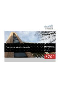 Präsentation der Umsetzung in der ULB Düsseldorf
